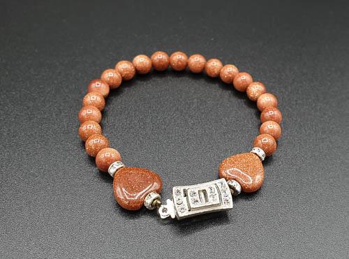 Bracelet énergétique fermoir ancien art déco et pierres scintillantes -terre dorée- Amor-