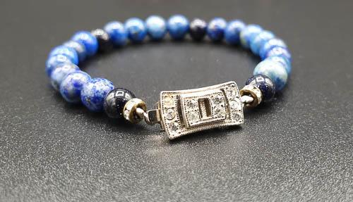 Bracelet énergétique Lapis Lazuli fermoir art déco et perles scintillantes – énergie bleu-