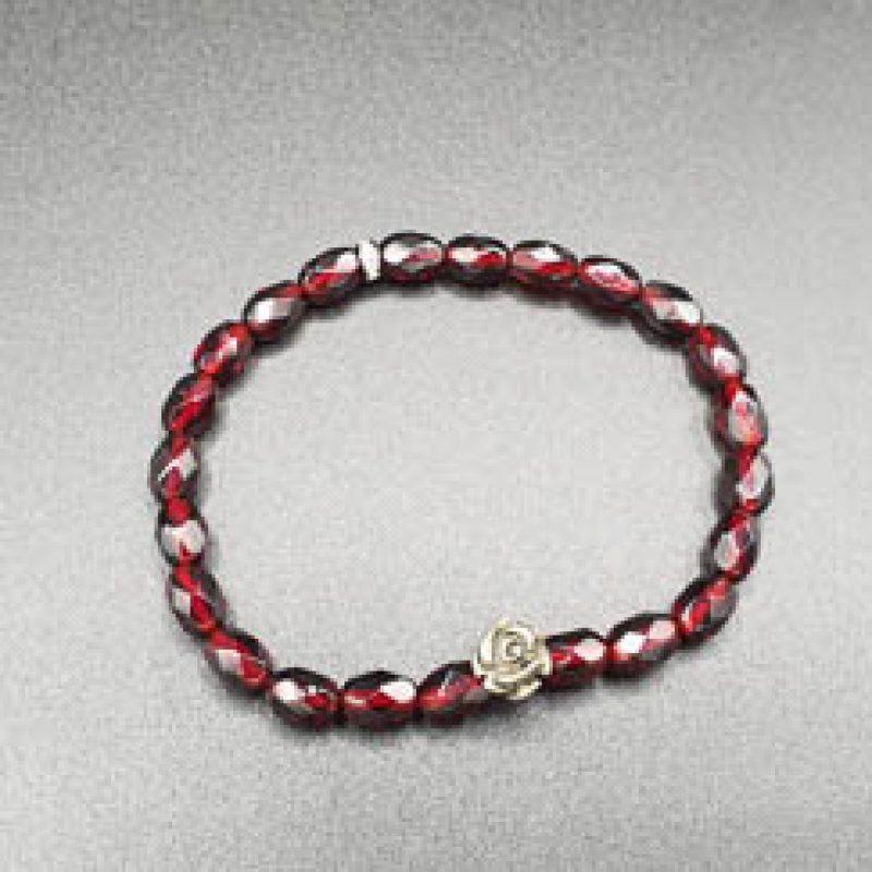 Bracelet élastique perles anciennes – rose en Pyrite –