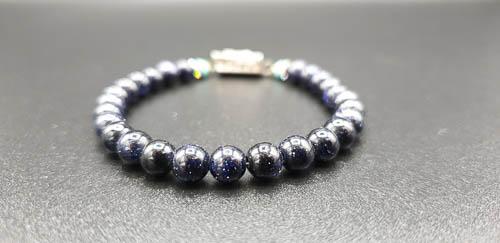Bracelet énergétique fermoir ancien art déco, perles scintillantes – nuit –