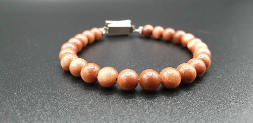 Bracelet énergétique fermoir ancien art déco et pierres scintillantes -terre dorée-