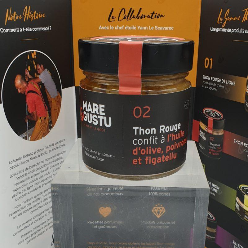Thon Rouge de ligne confit à l'huile d'olive, poivrons et figatellu