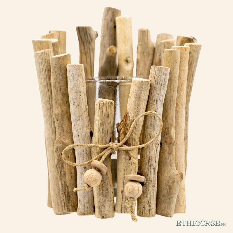 Photophore rond en bois flotté A