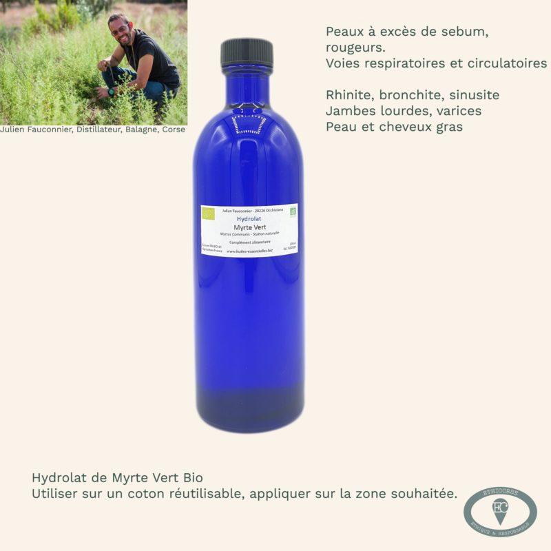 Hydrolat Myrte vert bouteille en verre vignette produit