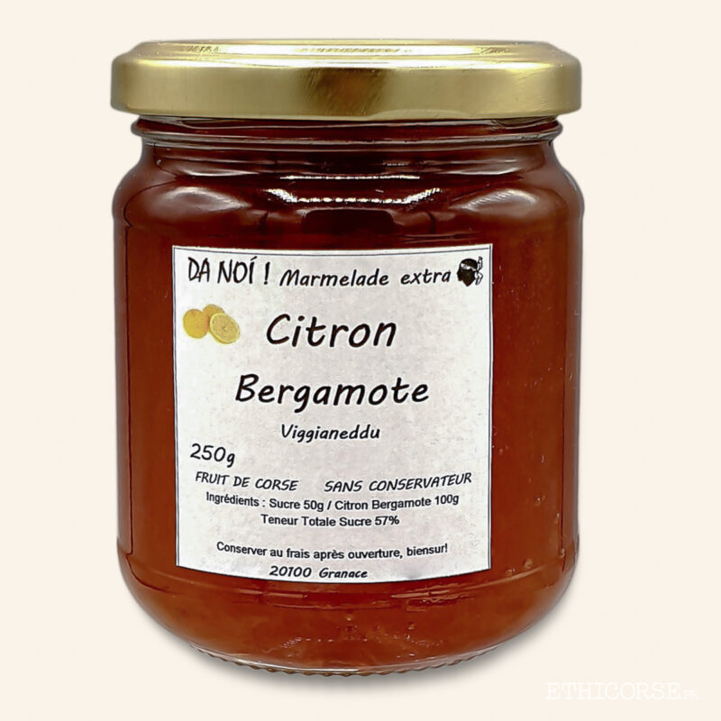 Condiment Marmelade Citron Bergamotte 250g Produit corse éthique