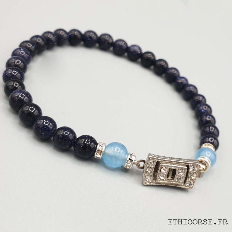 MD créations - Ethicorse.fr - Bracelet perles scintillantes bleue fermoir ancien
